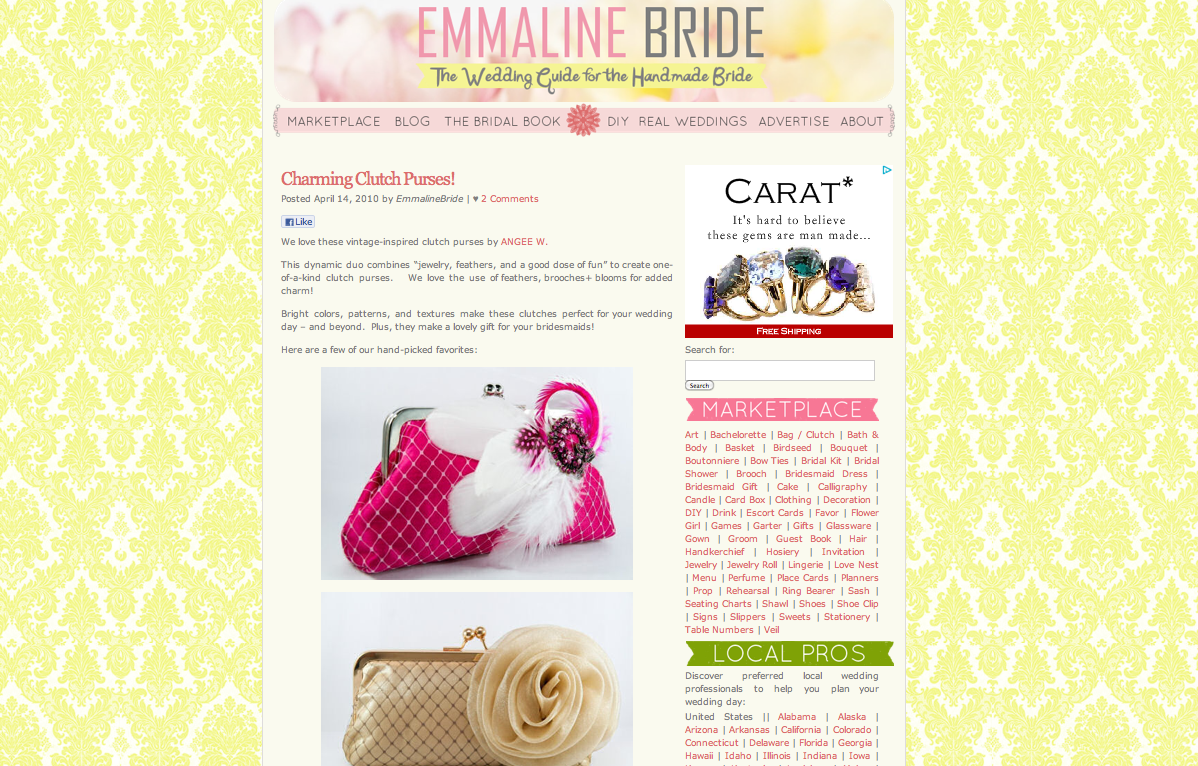 Emmaline Bridal featuring ANGEE W. bridal clutch bags