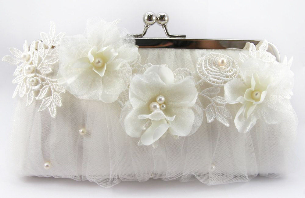 ANGEE W. Alencon & Organza Flower Bridal Clutch Bag LAFORET