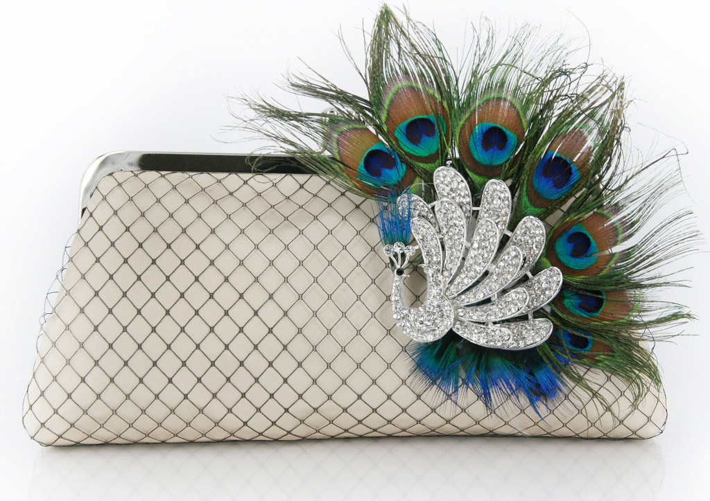 ANGEE W. Passion Peacock Bridal Clutch Bag in Satin Champagne