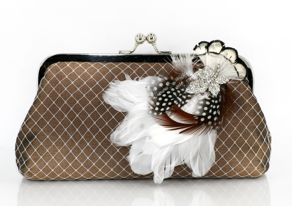 ANGEE W. Bridal / Bridesmaids clutch bag in Thai silk and feathers with rhinestone brooch, inspired by millinery veils and materials