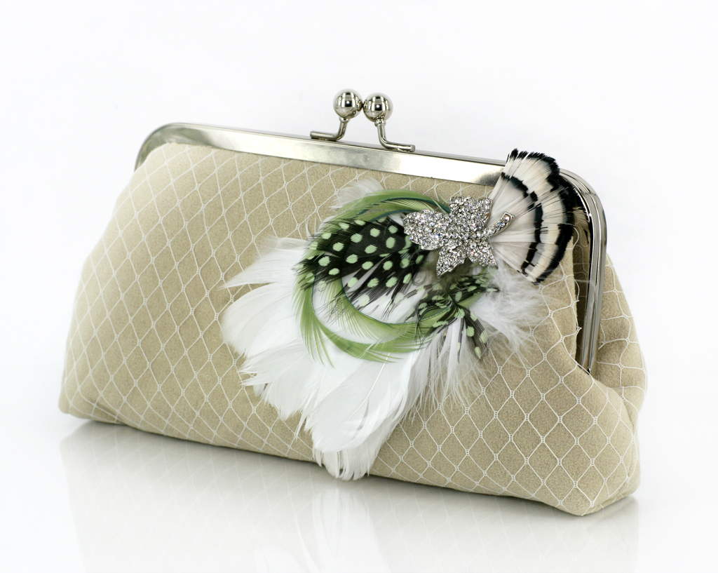 Tea Green feather clutch bag -- inspired by millinery materials, veils, and feathers by ANGEE W.