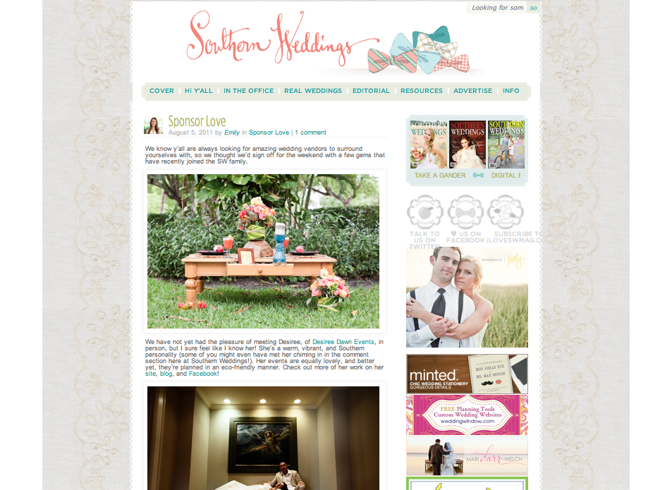 Southern Weddings Sponsor Feature Aug 2011
