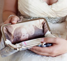 Lilac Bridal lace Clutch Bag with personalized photo lining
