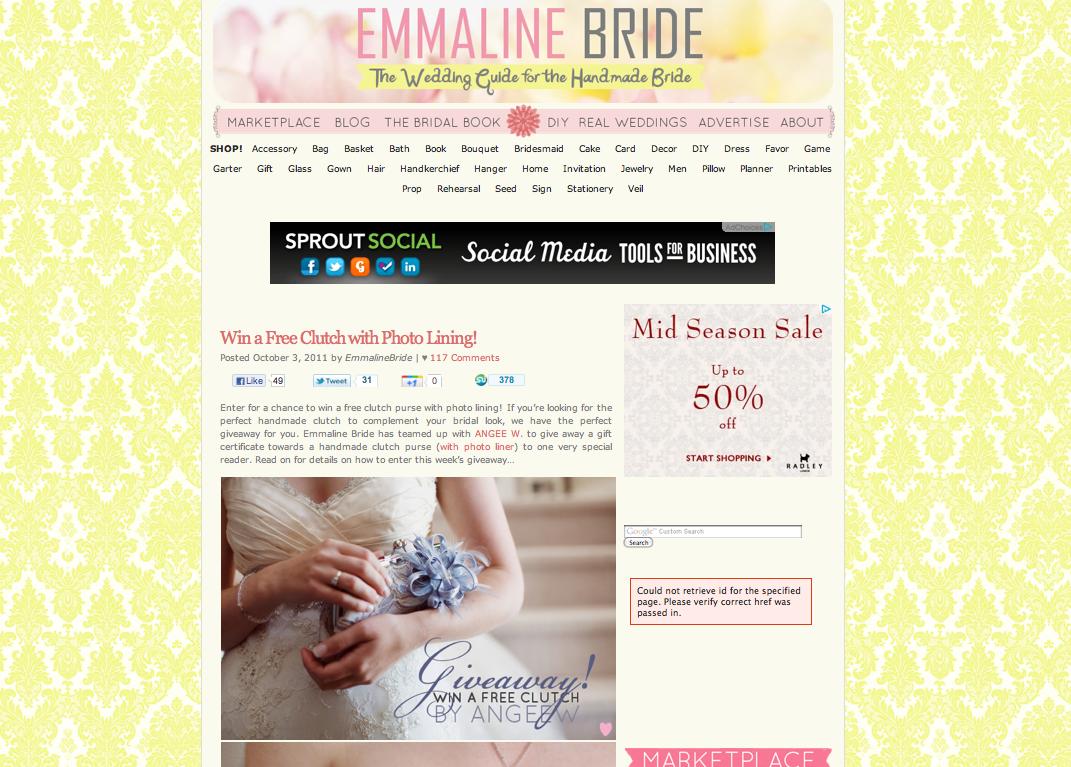 ANGEE W. giveaway on Emmaline Bride