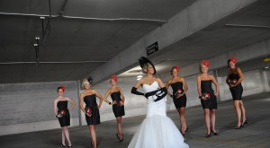 The Bride and the Bridesmaids in their hat, fascinators and clutch bags!