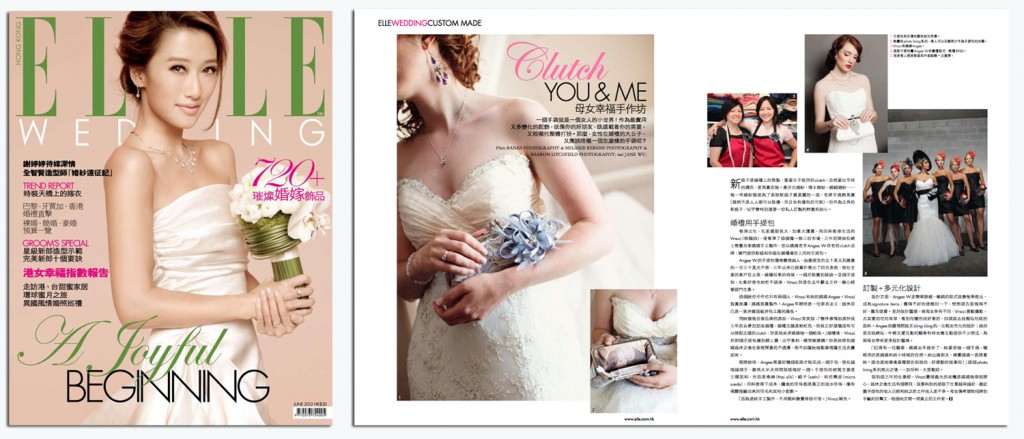 ELLE Wedding Hong Kong magazine ANGEE W. feature Spring/Summer 2012