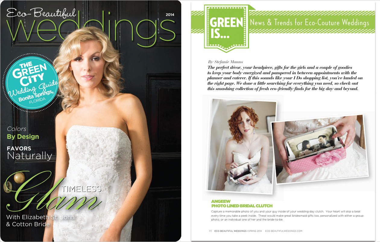 Photo lined clutch bag for bridal and bridesmaids clutches featured on Eco-Beautiful Wedding Magazine