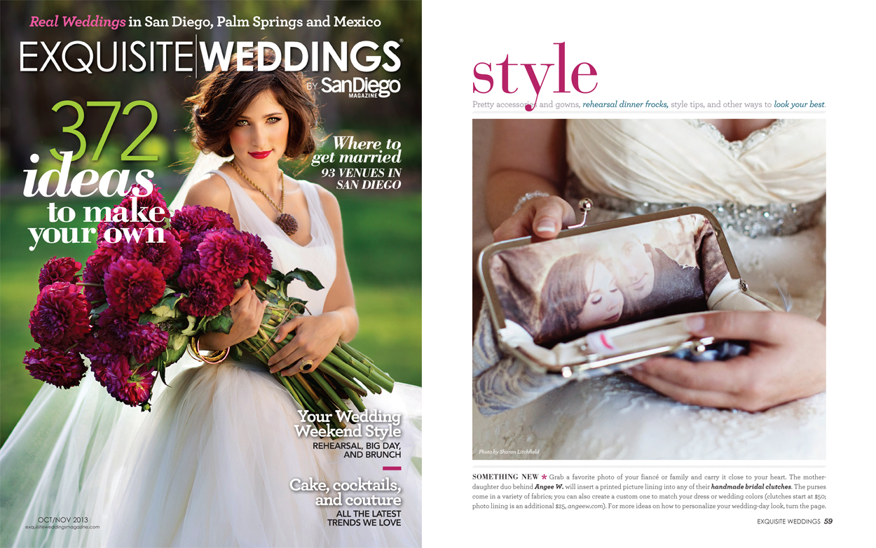 Photo lined Personalized Clutch bag ANGEE W. on Exquisite Weddings magazine