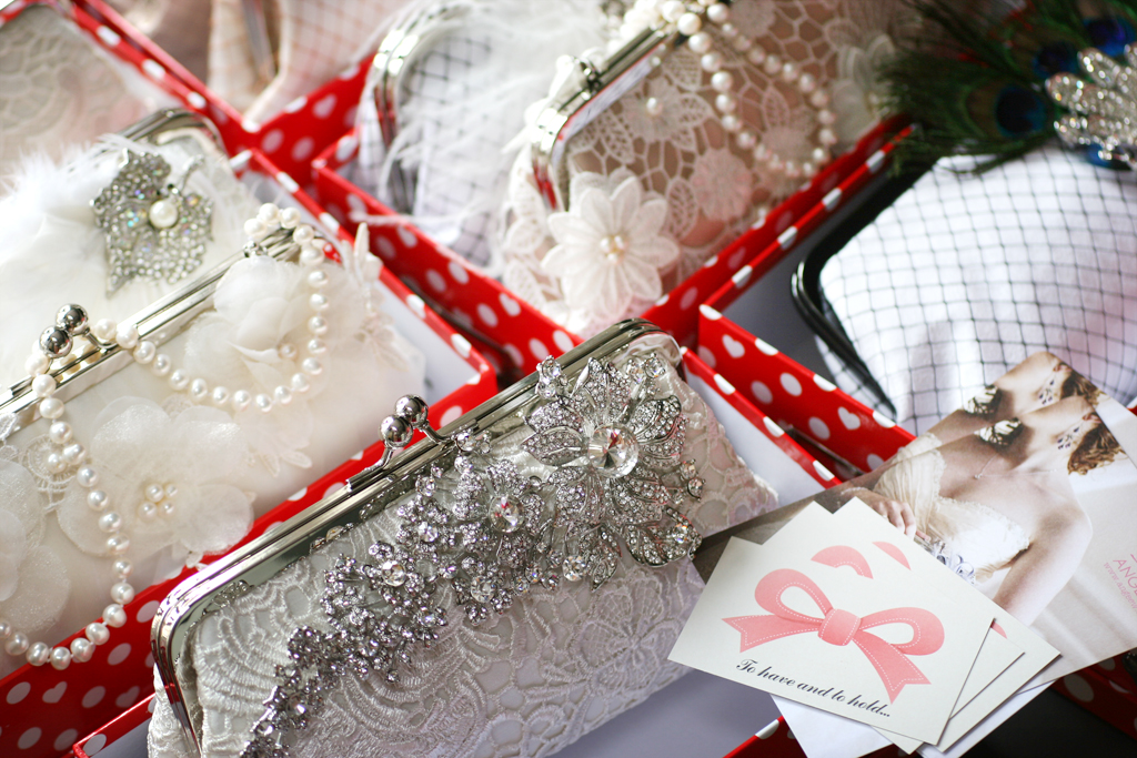 A sneak peek of ANGEE W. clutches for the 2012 Fizz & Frills Bridal Fashion Show