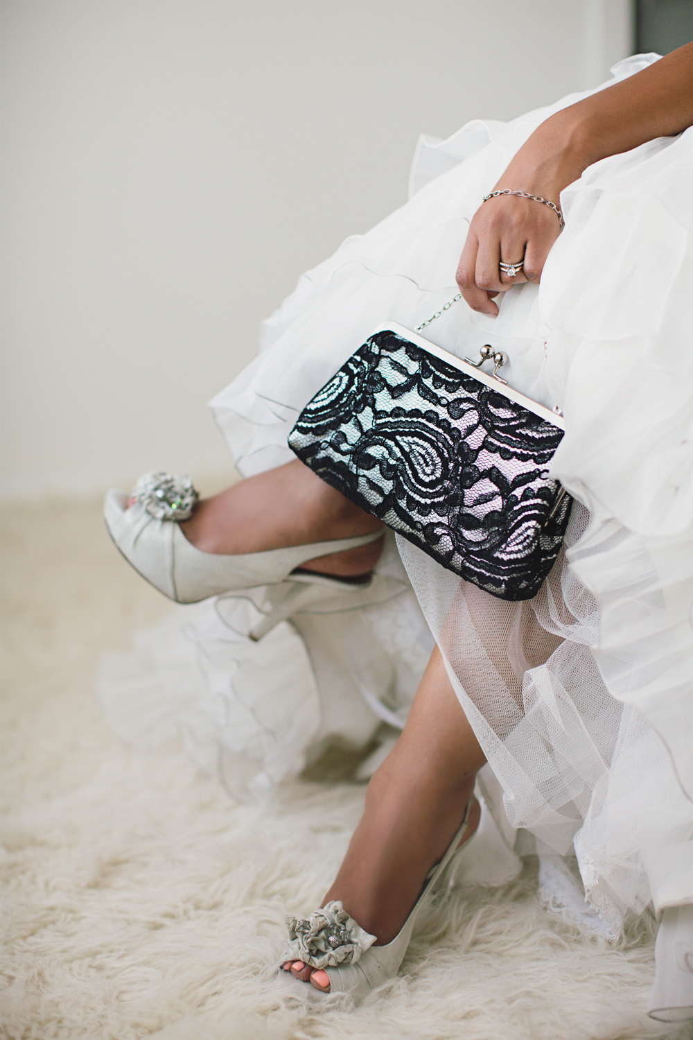 Lace and Metallic Silver Leather Clutch on Bridal | Wedding | ANGEE W. | Photo by Sharon Litchfield