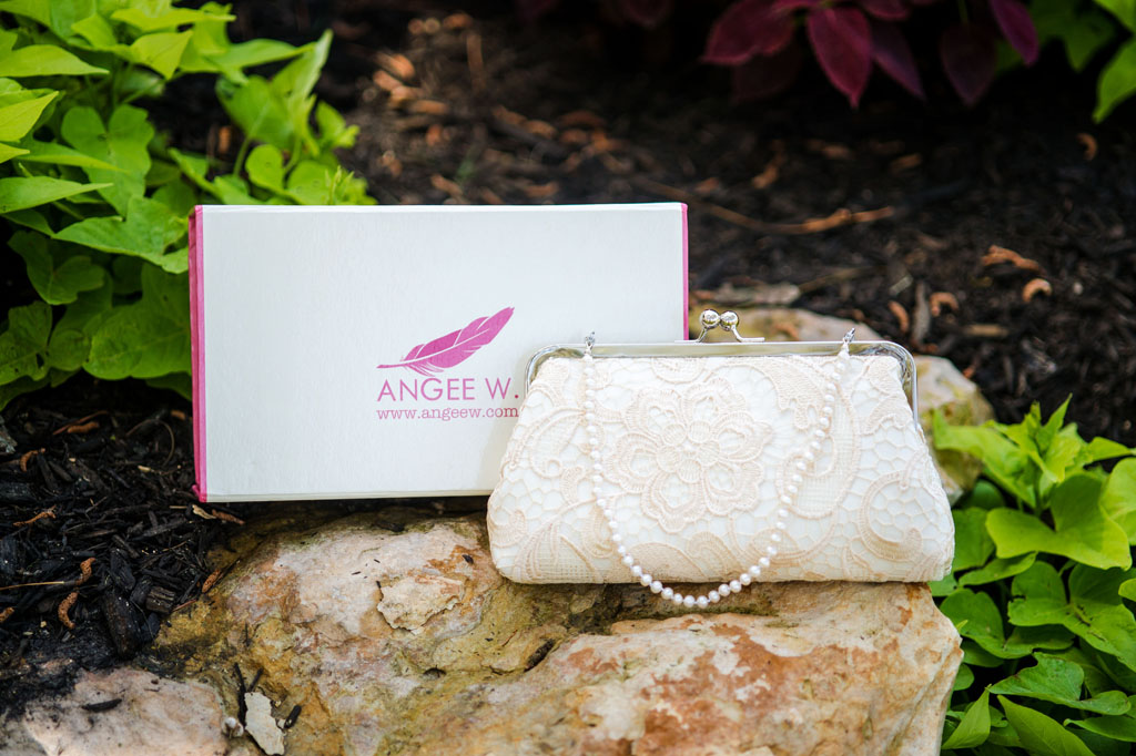 Ivory bridal lace clutch bag with fresh water pearl strap by ANGEE W.