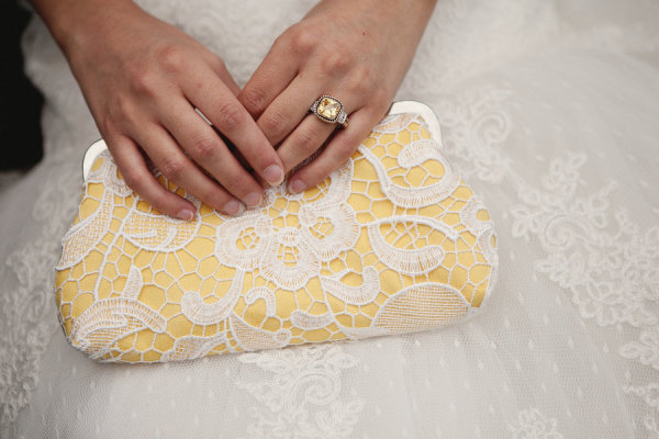 Yellow lace bridal bridesmaids Clutch bag by ANGEE W. | Tuscan inspired wedding