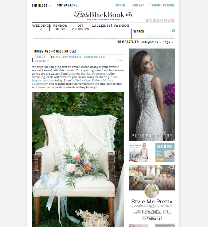 Bohemian Chic Wedding | ANGEE W. clutch bag featured on Style Me Pretty Little Black Book Blog