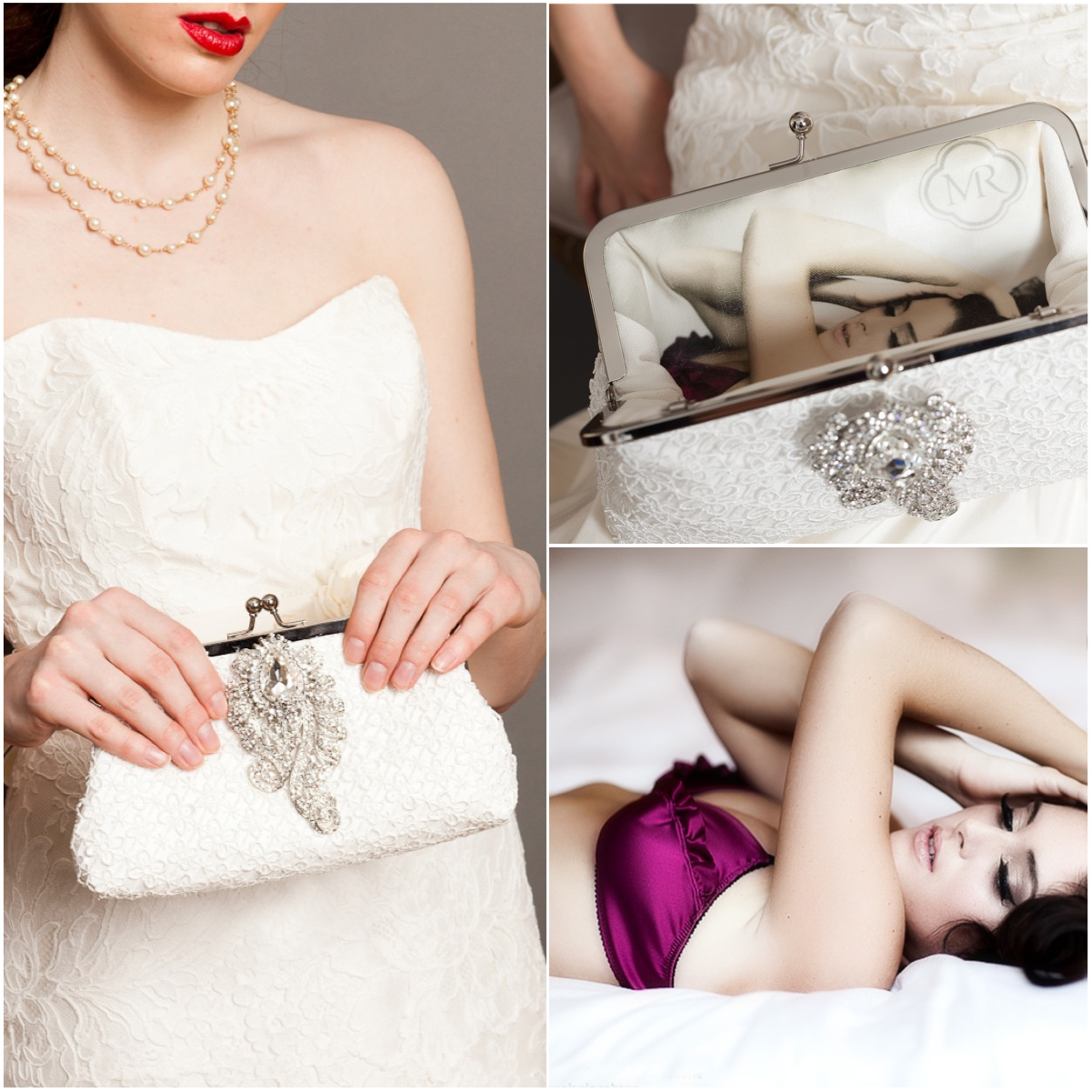 Photo lined Quatrefoil wedding lace bridal Clutch bag with black freshwater pearls | Photo by Melanie Rebane