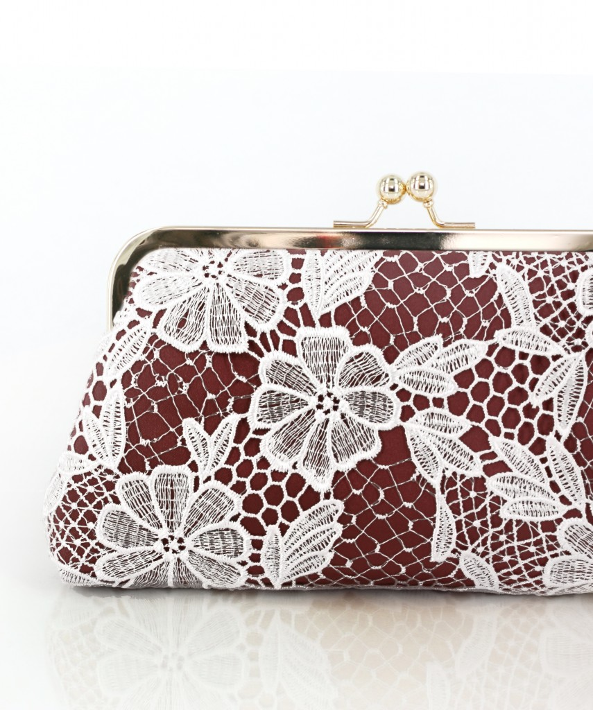 nspired by the Italian wine, Marsala, here's our brand new color for bridal and bridesmaid lace clutches with the Pantone official color of 2015. We love the earthiness and warmth of this beautiful brownish red against the light gold frame.