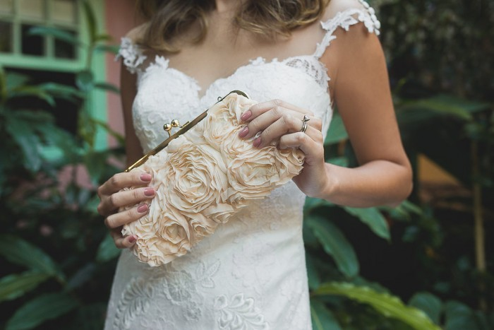 Blush Chiffon Rose Clutch - available in ivory and blush