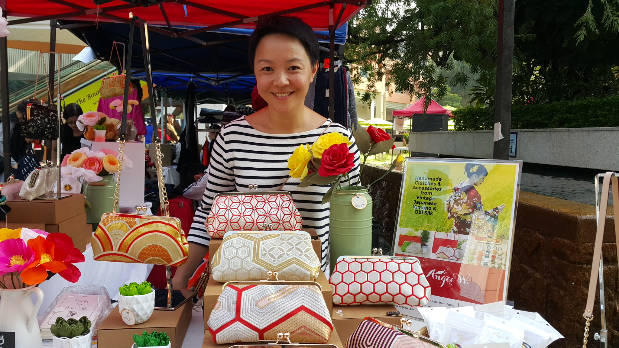ANGEE W Japanese obi clutches at the Handmade Hong Kong Discovery Bay Market